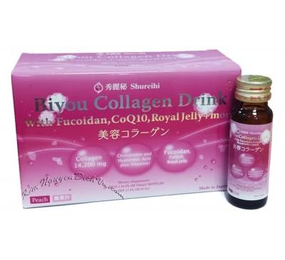 Shureihi Biyou Collagen Liquid - Nước Uống Biyou Collagen Có kết hợp Fucoidan & Nhiều Loại Vitamin - 50ml x 10 bottles - Made in Japan