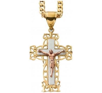 Goldtone Mens Crucifix Pendant