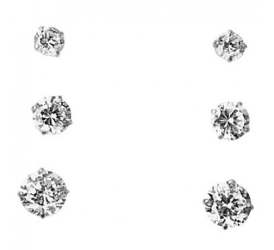 10K Gold 3-Pair Set of Round CZ Earrings