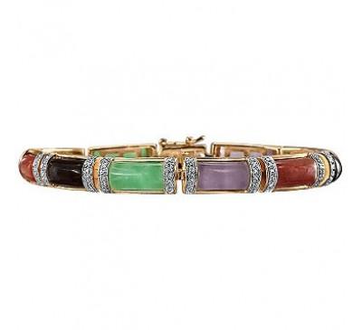 Diamond-Accent 18K Gold-Plated Silver Jade Bracelet