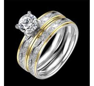 Women Fashion Zircon Double Titanium Steel Ring Set