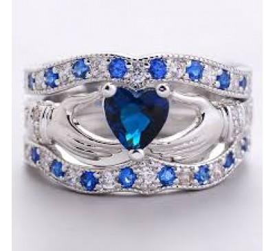 Women Fashion Jewelry Claddagh Heart Cut Sapphire Crystal Ring Set
