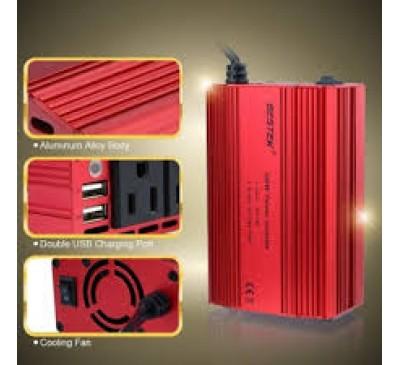 BESTEK Dual Car Power Inverter with 2 USB Charging Ports Battery