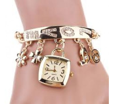 Women Fashion Chic Love Rhinestone Stainless Steel Gold Chain Bracelet Wrist Watch