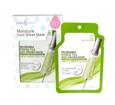 Dearderm Green Tea Age-Eraser Mask - Mặt Nạ Dưỡng Da Trà Xanh - Box of 11 pieces - Made in Korea