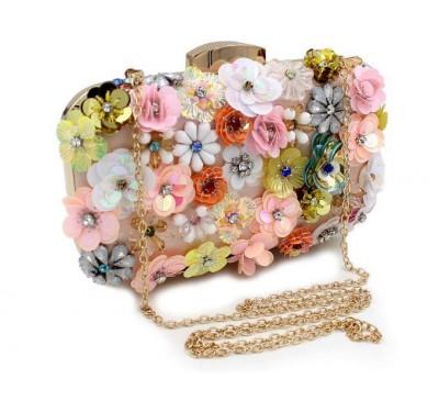 Designed Multicolor Rhineston Flower Handbag - Túi Xách Thiết Kế Độc Lạ - Made by Hand