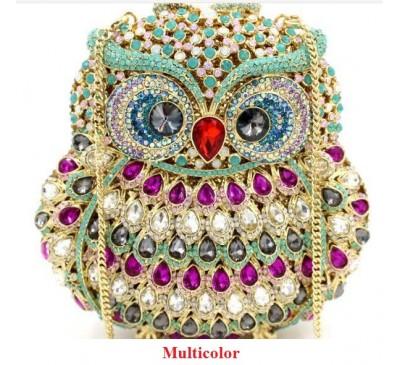 Owl Crystal Rhinestone Handbag - Túi Xách Tay Hình Chim Cú - Made by Hand