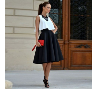 Women Vintage Style Drop Top High Waist Plain Long Skirt Dress