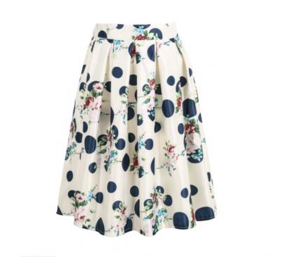 Woman Fashion White Floral Polka Dot Skirt