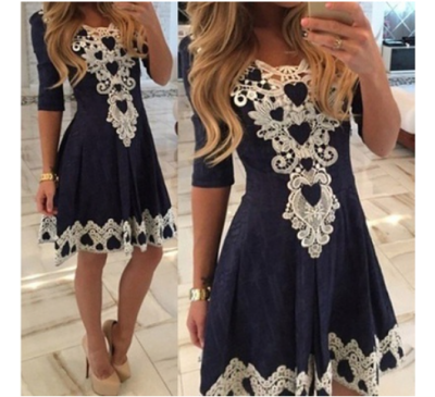 Women Fashion White Up V-Neck Lace Vestidos Dress