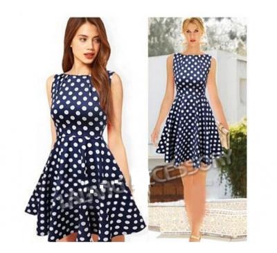 Women Fashion Vintage Style Prom Dot Printed Polka Sleeveless Dress