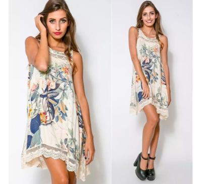 Women Fashion Summer Floral Neck Sleeveless Casual Dress