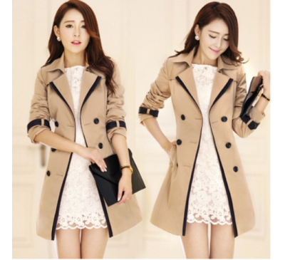 Women New Coats Style Double Breasted Trench Jackets