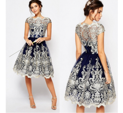 Women Navy Lace Elegant Style Ball Prom Gown Dress