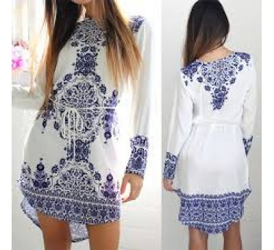 Women Fashion Long Sleeve Blue and White Vintage Style Dress