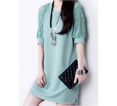 Woman Fashion Straight Above Knee Plain Dress