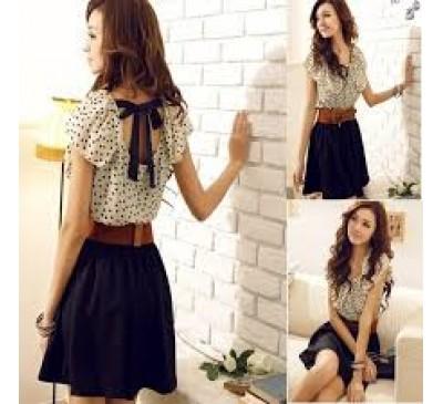 Woman Fashion Dot Ruffled Collar Chiffon Cute Mini Dress