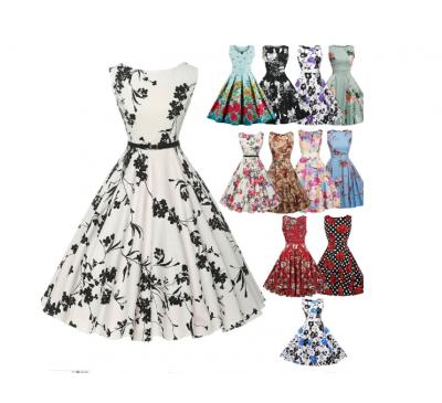 Women Elegant Vintage Fashion Floral Print Sleeveless Pleated Dress