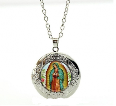 Our Lady of Guadalupe Silver-Plated Virgin Mary Religious Catholic Locket Pendant Necklace