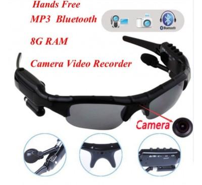 Wireless Bluetooth With MP3 Earphone Camera Video Recorder Eyewear Sunglasses