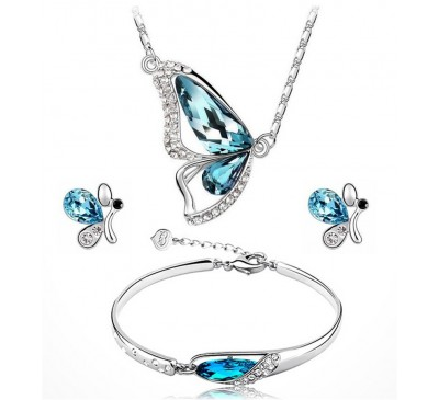 Butterfly Jewelry Sets Included Necklace + Earring + Bracelet Crystal