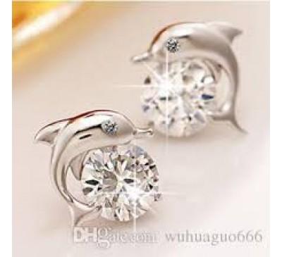 Women Crystal Dolphin Cubic Zirconia Earrings