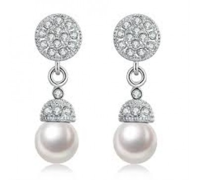 Women Fashion Nickle Platinum Plated Pearl Earrings
