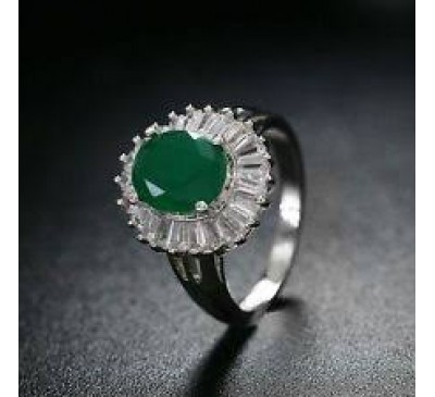 Retro Classical Vintage Jewelry Green Oval Shaped Crystal Ring