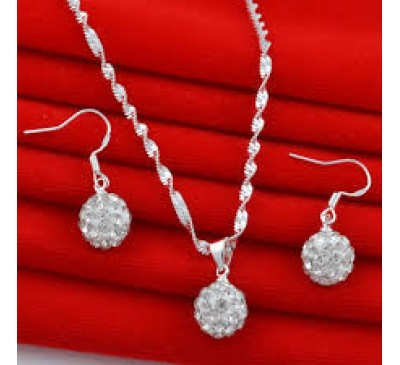 Women Jewelry Handmade Rhinestone Ball Set Included Necklace & Earring