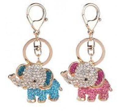 Animal Crystal Golden Color 3D Elephants Animal Key Chain