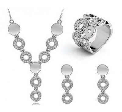 Luxury Jewelry Sets Circle Round Choker Included Necklace + Earrings + Ring
