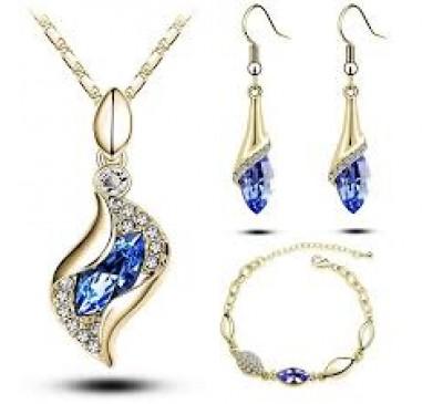 Women Jewelry Elegant Luxury Design New Fashion Set Included Necklace + Earrings + Bracelet