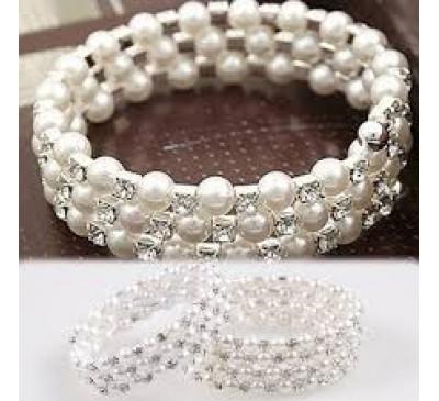 Elegant Rhinestone Decoration Multilayer Pearl Stretch Bracelet