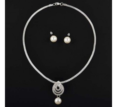 Pearl Crystal White Silver Noble Fashion New Necklace & Earring Set