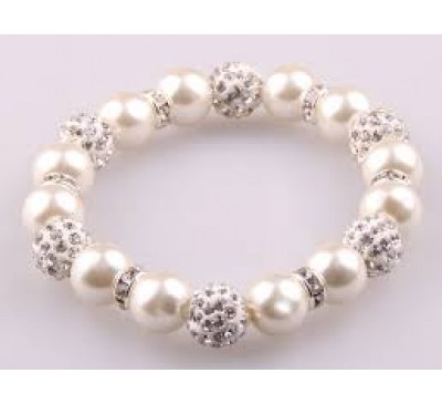 Women Fashion With 10mm Grey Glass Pearl Beads With Spacers Bracelet