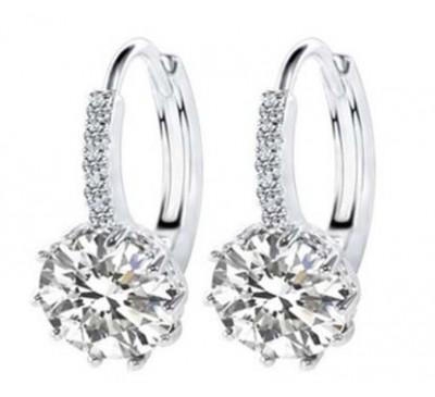 Women Fashion White Filled 8 colors Cubic Shape Zirconia Elegant Earrings