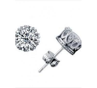 Women Fashion Silver Plated Crystal Earrings