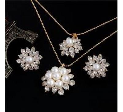 Snow Flower Jewelry Pearl Fashion Jewelry Earrings + Double Necklace Set