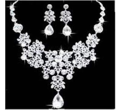 Fashion Jewelry Rhinestone Crystal Necklace & Earrings Set