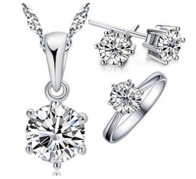 Women Jewelry 6 Claws Cubic Zirconia Set Included Earring + Necklace + Ring