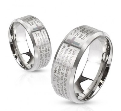 Stainless Steel Laser Our Father Lords Prayer On Ring