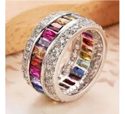 Women Multicolor Gemstone Delicate Princess Ring