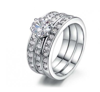 Women Fashion Crystal Flower Ring Set