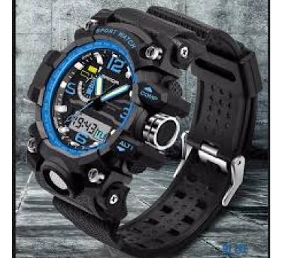 Men Fashion Dual Movement Sports Casual LED Digital Waterproof Watch