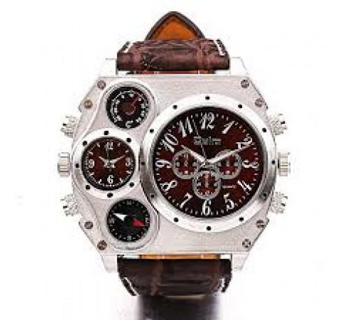 Oulm Compass Dual Quartz Movements Wrist Watch