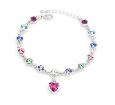 Women Fashion Crystal Rhinestone Bangle Ocean Blue Chain Heart Bracelet