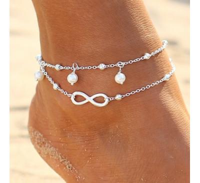 Women Fashion Simple All-Match Infinity Anklet Double Chain Cross Shape Pretty Girl Summer Bracelet