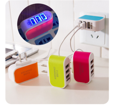 LED Triple Ports USB Wall Home Travel Charger