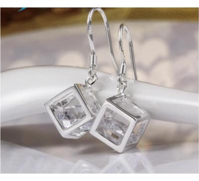 Women Silver Zirconia Diamond Cube Drop Earings