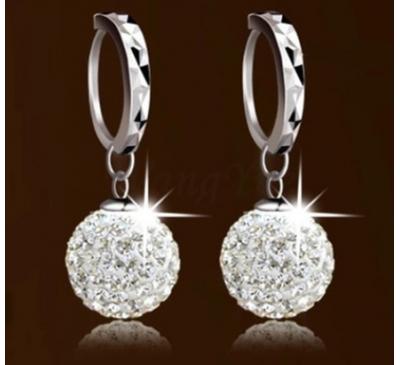 Women Stylish Accessories Plated Crystal Hoop Dangle Earrings